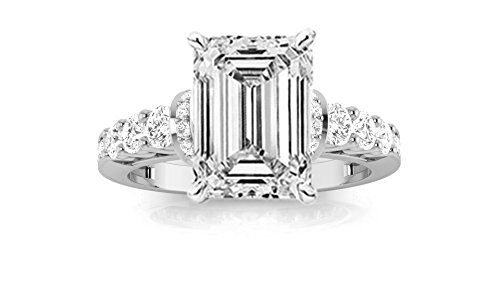 1.5 Carat Designer Four Prong Round Diamond Engagement Ring (G Color, VS2 Clarity) – Emerald Cut