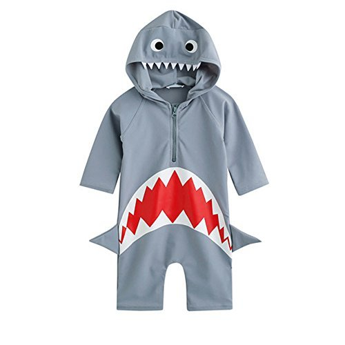 Moomintroll Baby Boys Girls Shark Swim Rash Guard Swimsuit Costume Sun Protection Swimwea (M(3-4Years)) -