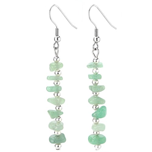 JewelrieShop Birthday Stone Chip Crystal Gemstones Semi Precious Beaded Dangle Earrings, Long with Fish Hook, (Green Jade Crystal Earring)