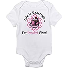 CafePress Eat Dessert First Infant Bodysuit - Cute Infant Bodysuit Baby Romper