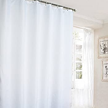 Ufaitheart Hotel Shower Curtain Long Curtains Pure White Polyester Fabric Extra 72 X 84 Inch