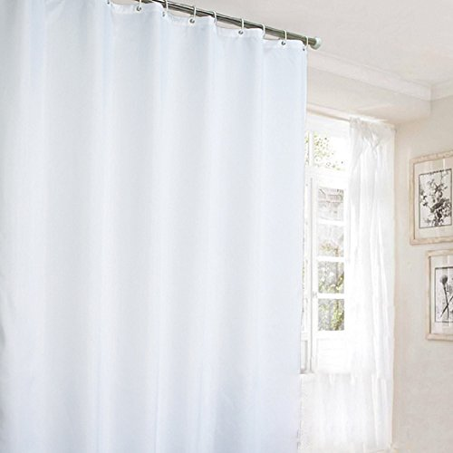 Ufaitheart 36 x 78 Inch Shower Curtain Extra Long Curtains, Waterproof/Mouldproof Shower Stall Shower Curtain Fabric, Pure White (Shower Stall Fabric Curtain Liner)