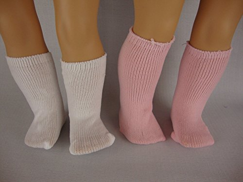 A Set of 3 Pairs of Socks in White, Pink & Black Made to Fit the 18 Inch Doll American Girl Series
