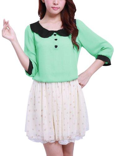 Allegra K Blusa Para Mujeres Pullover Cuello de Peter Pan Diseño Sin Patrones Verde Menta