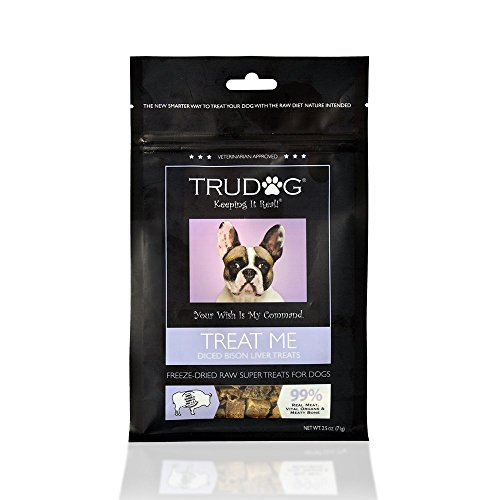 Real Meat Organic Dog Treats - Treat Me: Diced Bison Liver Freeze-Dried Raw Super Treats (2.5oz) - 100% All Natural Treats Support Healthier Teeth and Gums, Skin and Coat, and A Boosted Immune System