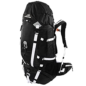 Scandinavian Gear 65l Backpack - Multi-Day Pack for Hiking, Backpacking with Rain Cover - Black/White