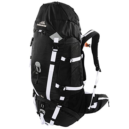 -day Pack for Hiking, Backpacking with Rain Cover - Black/White ()