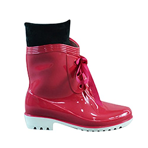 LvRao Women's Waterproof High Ankle Boots Rain Snow Shoes Rubber Wellies Wine Red Fw2aBiW8q
