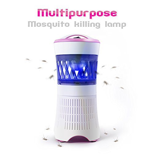 Relassy Electronic Mosquitos Trap,Nontoxic Mosquitos Killer Lamp, Eliminates Most Flying Pests With Light Sensor LED Night Lamp Insect and Mosquito Trap (Pink)