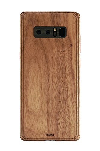 Toast Notes (TOAST- Real Wood, Walnut Cover for Samsung Note 8 with Ebony Camera & Buttons)