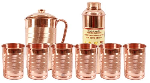 Indian Art Villa 100% Pure Copper Silver Touch 1 Jug Pitch