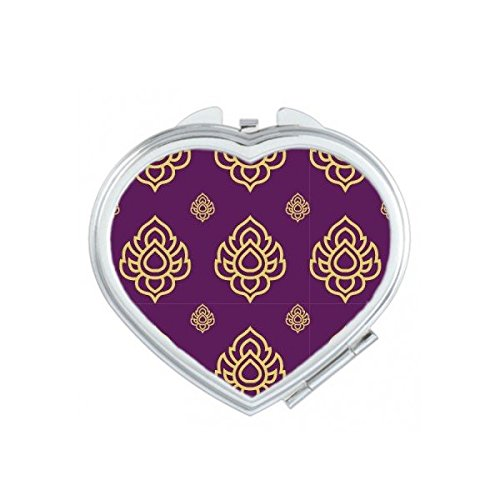 Kingdom of Thailand Thai Traditional Customs Smell Golden Purple Weaving Decorative Pattern Satin Shrine Art Illustration Heart Compact Makeup Pocket Mirror Portable Cute Small Hand Mirrors by DIYthinker