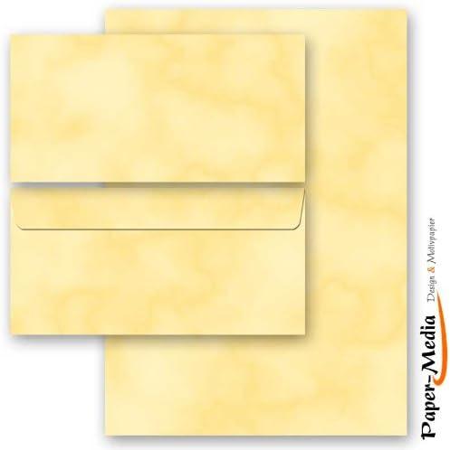 100-tlg 50 passende Briefumschl/äge DIN LANG ohne Fenster Motivpapier Komplett-Set KAKADU 50 Blatt Briefpapier