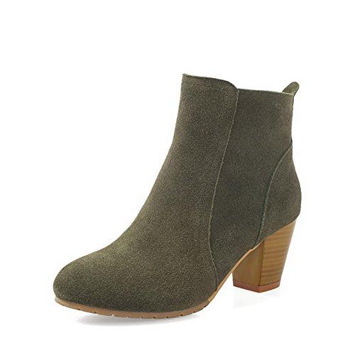 Allhqfashion Kvinners Kitten-hæler Rund Lukket Tå Frosne Lav-top Støvler Grønne