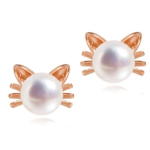 Meow Star Cute Cat Stud Earrings Sterling Silver Freshwater Pearl Studs Rose Whisker Cat Earrings