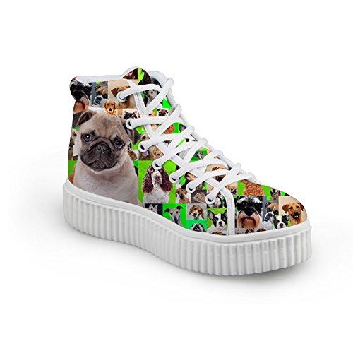 Abbracci Idea Cani Modello Carino Donna Alto Scarpe Alte Sneakers Piattaforma Pug