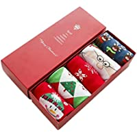 Christmas socks gift box cartoon cotton lady 5 pairs middle barrel socks