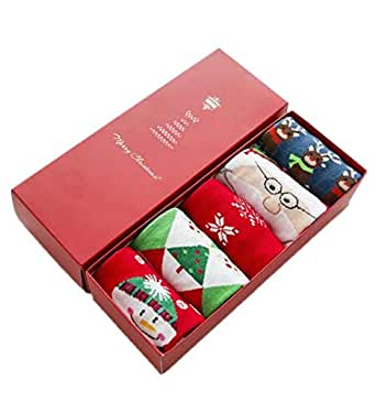 Christmas socks gift box cartoon cotton lady 5 pairs middle barrel socks