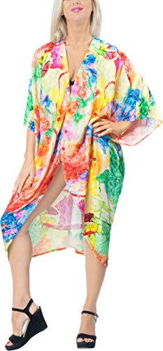 Women's Blouse Loose Drape Short Kimono Beach Cardigan Silk Printed -