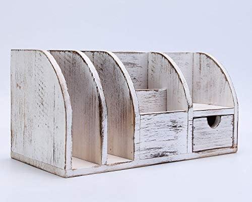 IBWell 12″ Rustic Wood Desktop Accessories Organizers Holder for Pen Pencil – Vintage Desk Organizer with Drawer Supplies Rack 41dtQEUsg8L
