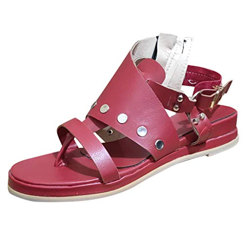 Women's Flat Sandals Peep Toe Rockabilly Pumps Wedding Evening Shoes Retro Rivet Roman Shoes Elegant Sandals Red