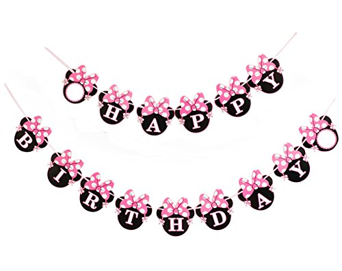 Kristin Paradise Happy Birthday Banner, Minnie Mouse Style Party Decorations, Premium Quality Birthday Banner, Minnie Mouse Party Supplies