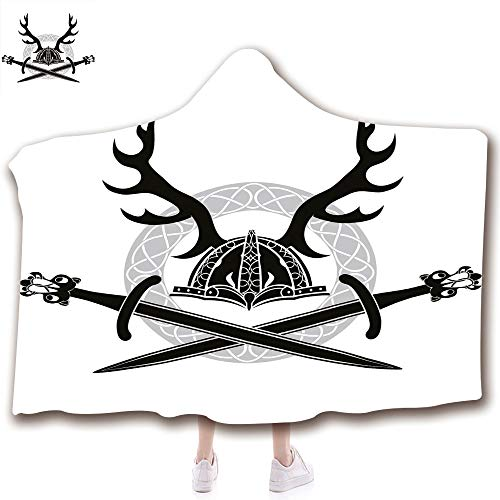 Fashion Blanket Ancient China Decorations Blanket Wearable Hooded Blanket,Unisex Swaddle Blankets for Babies Newborn by,Viking Swords Celtic Circle Medieval Barbarian,Adult Style Children Style -