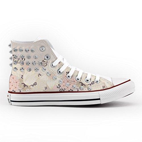 Converse All Star Personnalisé, Imprimés et Clouté - chaussures à la main - produit Italien - Flowers