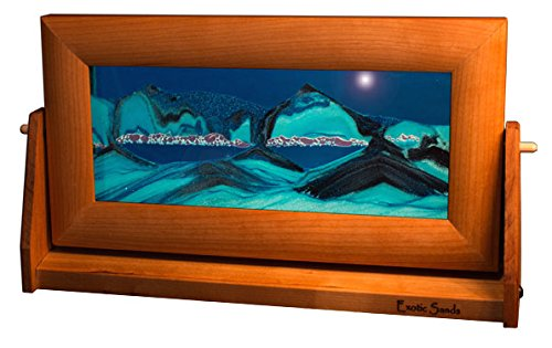 (Exotic Sands Art in Motion Md21 - Colored Sandscapes - Made in USA Medium Cherry Frame (Ocean Blue))