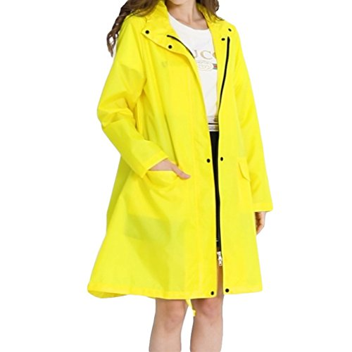 con Lluvia Amarillo de Chaqueta al Lluvia Impermeable Impermeables Impermeable Juleya Aire Transpirable Mujeres Poncho Limon Libre Larga Capa Capucha RHAxSt