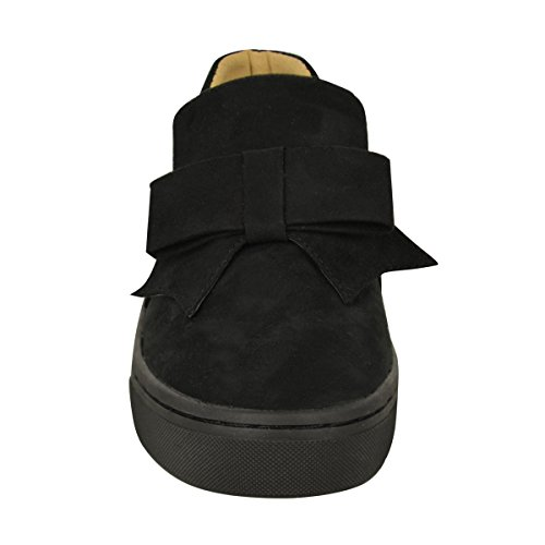 Size Skate Black Shoes Thirsty Slip Detail On Flat Plimsolls Womens Faux Trainers Suede Sneakers Fashion Bow Ra7faq