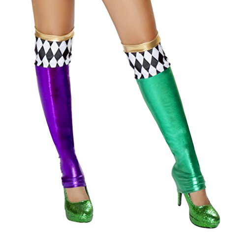 (Green and Purple Jester Leggings Costume Accessory)