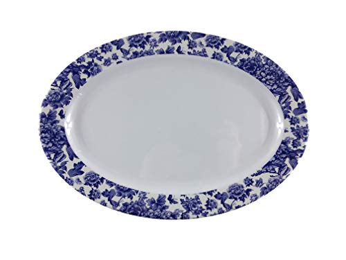"Melamine dinnerware, Oval Plate set of 6, ARC USA, 100% Melamine, FDA Safe, Elegant, Heavy Duty, 12"" Shatter-Proof and Chip-Resistant Melamine Dinner Plates (White with blue floral design)"
