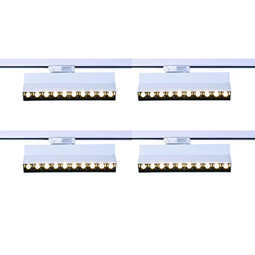 mirrea 20W Dimmable LED Array Track Lighting Heads White Painted Compatible with Single Circuit H Type Track Rail CRI 90 Warm White 3000K Beam Angle 30° for Wall Art or Shop Window Pack of 4