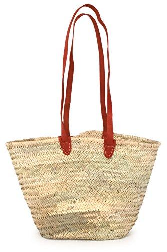 (Moroccan Straw Market Shoulder Bag w/Red Leather Straps, 21