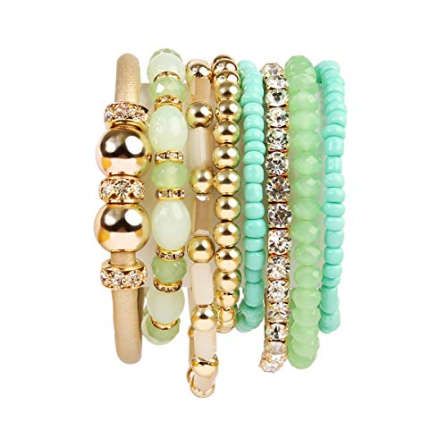 RIAH FASHION Multi Layer Strand Sparkly Stack Bracelets - Rhinestone Crystal Colorful Beaded Statement Stretch Adjustable Bangle Set (Leatherette Mix - Mint)