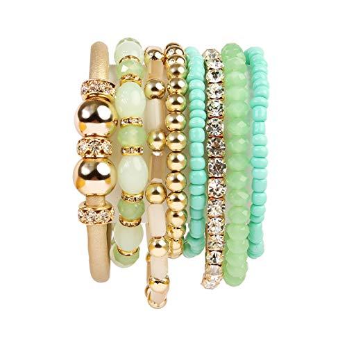 RIAH FASHION Multi Layer Strand Sparkly Stack Bracelets - Rhinestone Crystal Colorful Beaded Statement Stretch Adjustable Bangle Set (Leatherette Mix - Mint) - Mint Beaded Necklace