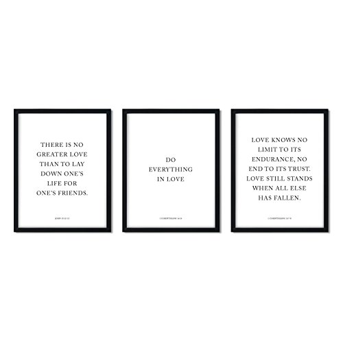 Andaz Press Black and White Christian Bible Verses Wall Art Decor, 8.5x11-inch, Do Everything in Love, 3-Pack, Biblical Quotes Modern Minimalist Gift for Him Her New Couple (Black And White Bible)