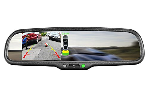 """iMirror GEK-043LAP OEM Style Replacement Mirror with Built-in Parking Assist, Camera & 4.3"""" LCD Display and special bracket mount for installation"""