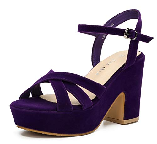 Women's Wedge Platform Sandals Peep Round Toe Chunky Heeled Pumps Shoes Purple Velvet Size US 6 EU 36 ()