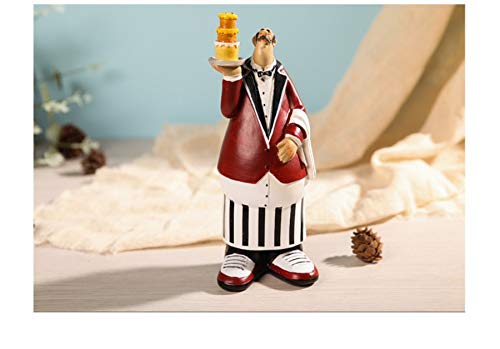 French Chef Waiter With Cake Decorative Display Stand Table Centerpiece Figurine for Country Cottage Decor As Collectible Housewarming Gifts (Waiter with Cake)