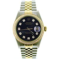 Rolex Mens Datejust Model 16013 Steel & Gold Watch Custom Black Diamond Dial & Diamond Bezel (Certified Pre-Owned)