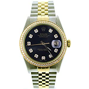 Best Epic Trends 41dtSb8oINL._SS300_ Rolex Mens Datejust Model 16013 Steel & Gold Watch Custom Black Diamond Dial & Diamond Bezel (Certified Pre-Owned)