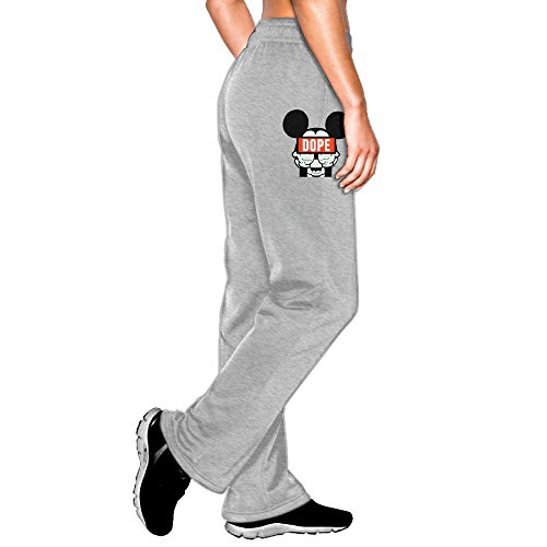 MEGGE Women's Dope Mickey Mouse Middle Fingers Elastic Athletic Lounge Sweatpants Ash