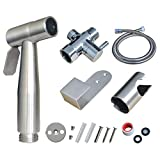 Atalawa Stainless Steel Hand Held Bidet Sprayer Muslim Shower Diaper Cleaner Attachment Kit w Metal Hose, Hanger and Adapter
