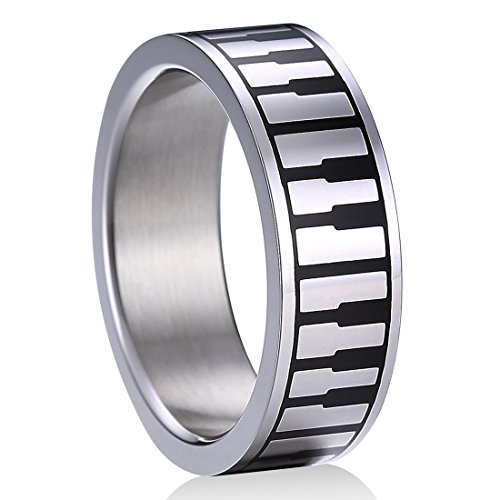 TGNEL Fashion Piano Keyboard 8mm Stainless Steel Ring Band for Men Women Boys Girls High Polished (10)