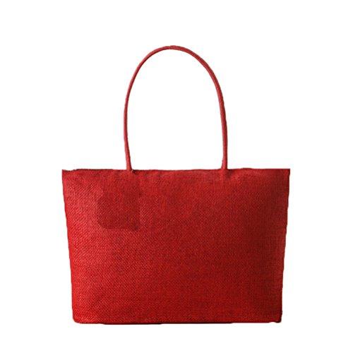rouge Sac tissage en tout main fourre femme Paille de été Rouge à synthétique Donalworld wpxnTIOqq