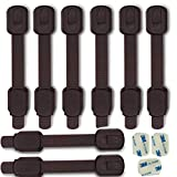 Child Safety kid safety Cabinet Lock Child Proofing Strap Locks for Baby Safety lock,Free Extra Adhesive Tape Included.No Drilling,Easy Installation.(Brown, 8 Pack)