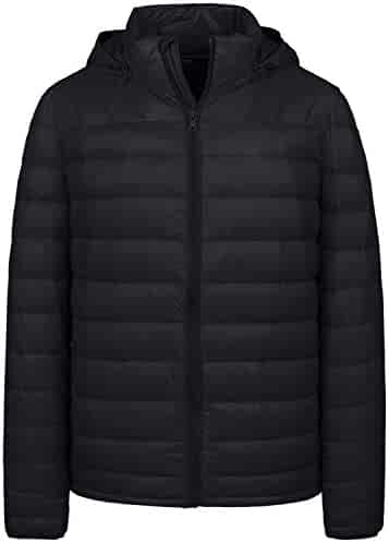33eb89c2c1b Wantdo Men's Packable Lightweight Insulated Puffer Down Jacket Winter Coat  with Removable Hood