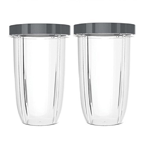 Blendin 2 Pack Extra Large Colossal 32 Ounce Cup with Lip Rings,Fits Nutribullet 600W, 900W Blenders by BLENDIN